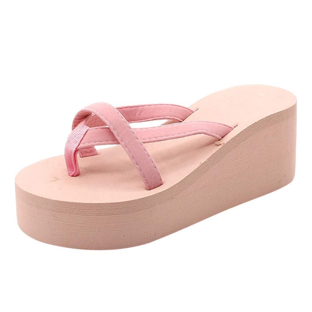 AHAYAKU Womens Solid Color Beach Flip-Flops High-Heeled Wedge with Thick-Legged Sandals