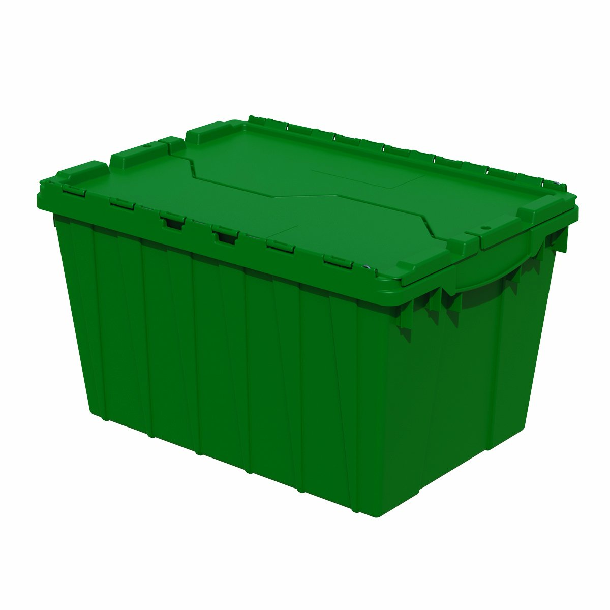 Akro-Mils 39120 21.5-Inch L by 15-Inch W by 12.5-Inch H 6-Pack Attached Lid Container Plastic Storage and Distribution Tote with Hinged Lid, Green by Akro-Mils