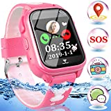 Kids Smart Watch GPS Tracker IP68 Waterproof Touch Screen Smartwatch Phone with SOS Anti-Lost Camera Game Class-Mode Wrist Watch Back to School Gift Electronic Learning Toy for 3-12 Year Boys Girls