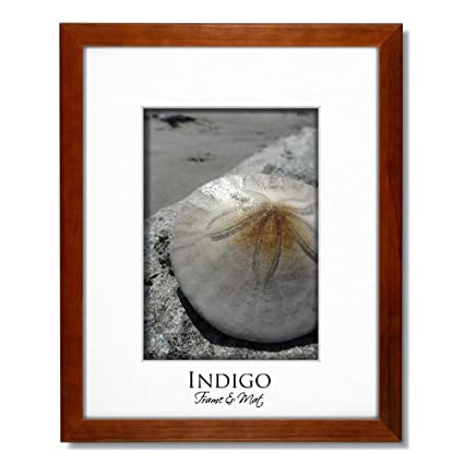 128720d30cd Image Unavailable. Image not available for. Color  16x20 Teak Stained Wood  Frame and Glass with Single White Mat ...