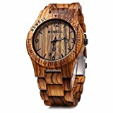 Bewell Mens Solid Zebra Wood Watch Natural Sandalwood Japan Quartz Date Calendar Wooden Wrist Watch Reviews