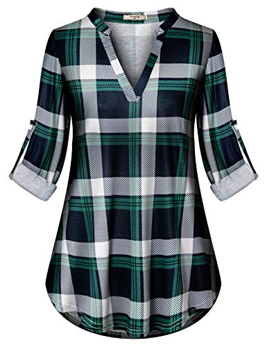 Viracy Long Shirts for Leggings for Women, Ladies Plaid Tunic Vintage Checkered Loose Peasant Tops Pintuck Buffalo A Line Split V Neck Curved Hem Roomy Daily Wear Pretty Blouses Green 2XL