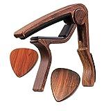 Moreyes Guitar Picks Guitar Capo Quick Change Acoustic Guitar Accessories Trigger Capo With Free Guitar Picks (GC-4 Rosewood)