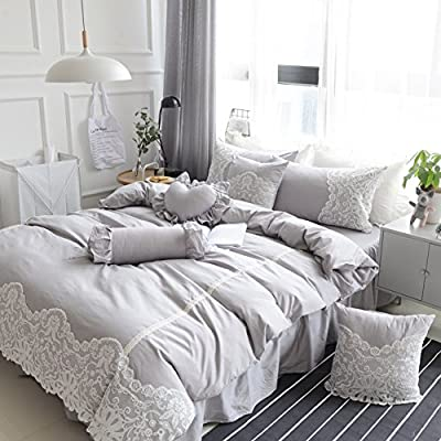 DACHUI Cotton bed sheets - 1800 beds fade, stain resistant - Hypoallergenic - 4 units (bed rock - Queen Princess wind - Bed linen lace)-b Queen 2