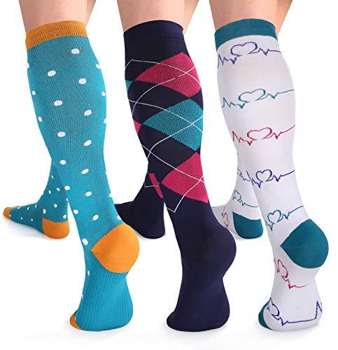 - Womens Compression Socks 15-20 mmHg Knee High Compression Stockings for Pregnant Women, Nurse, Maternity, Travel, Running, Nursing, 3 Pack, L/XL