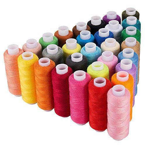 CiaraQ 30 Spool Sewing Thread,250 Yard Each Assorted Spool Threads Sewing Thread Bobbins of Colorful Assorted Thread Spool for Embroidery Machine Use