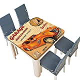 Engine Block Coffee Table PINAFORE Table in Washable Polyeste Vintage Garage Advertising Artsy Worn Print Some Engine Mechanical Symbols Orange Banquet Wedding Party Restaurant Tablecloth 49 x 49 INCH (Elastic Edge)