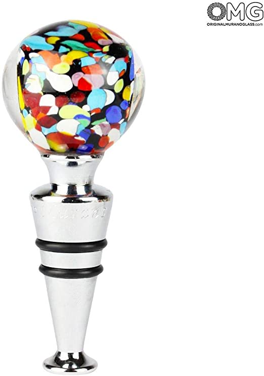 Cristal de Murano Tap/ón para Botella de Cristal de Murano OMG Carnaval y Caja