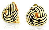 Love Knot Woven Clip On Earrings Antique Style Gold Plated Brass
