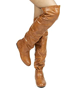 Women's TREND-Hi Over-the-Knee Thigh High Flat Slouchy Shaft Low Heel Boots by ROOM OF FASHION TAN PU (5.5)