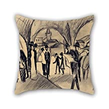 slimmingpiggy oil painting August Macke - Scene Under the Arcades in Thun throw pillow covers 20 x 20 inches / 50 by 50 cm best choice for husband,bf,shop,teens boys,relatives,car seat with two sid
