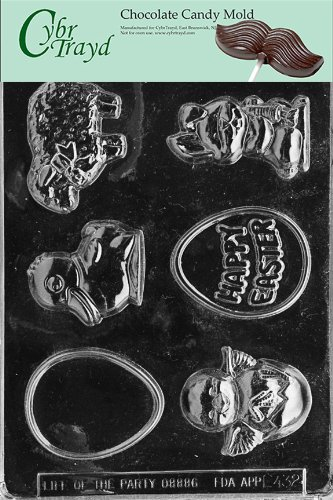 Cybrtrayd Life of the Party E432 Easter Assortment Chocolate Candy Mold in Sealed Protective Poly Bag Imprinted with Copyrighted Cybrtrayd Molding Instructions
