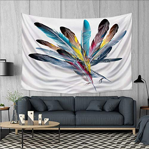 Anhuthree Floral Wall Hanging Tapestries Inspirational Bouquet of Types of Colorful Retro Style Quill Pen Feather Figures Large tablecloths 84