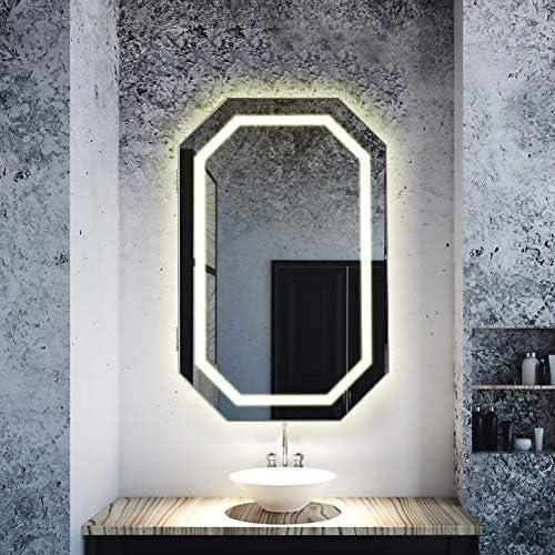 Greensen Schminkschrank mit Licht Spiegelschrank Holz Badezimmerspiegel H/ängeschrank Badschrank mit Spiegel und Beleuchtung LED Wandspiegel mit Ablage Warmes Wei/ßes Licht 37 x 40cm