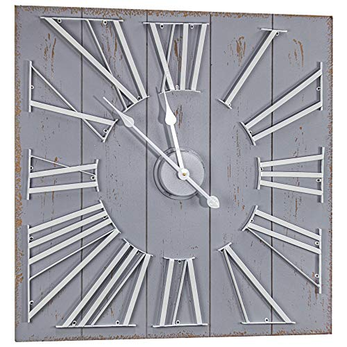 "American Art Decor Oversized Shiplap Wall Clock Shabby Chic Farmhouse Antique - Grey (27"" x 27"")"