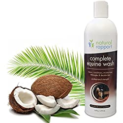 Natural Horse Shampoo - Complete 5-in-1 Natural Equine Shampoo and Conditioner - Cleans, Conditions, Deodorizes, Moisturizes & Detangles horse's coat, mane and tail - 16 fl oz