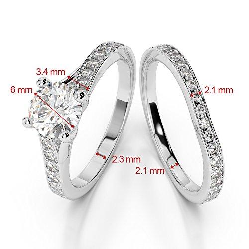Or blanc 18carats 1CT G-H/VS sertie de diamants ronds Coupe Noir de mariage Bague de fiançailles et ensemble de Agdr-2011