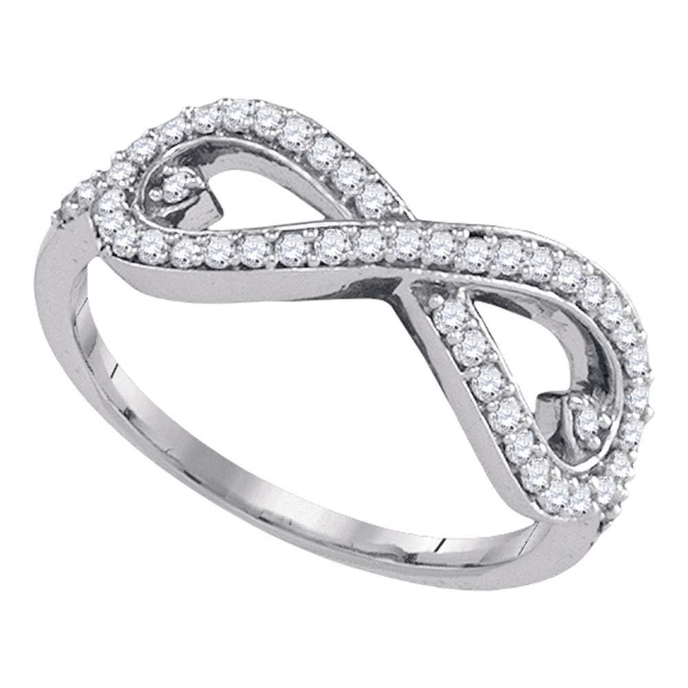 FB Jewels 10kt White Gold Womens Round Diamond Infinity Fashion Ring 1/3 Cttw (I2-I3 clarity; H-I color) by FB Jewels