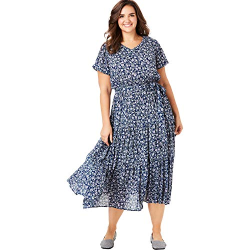Woman Within Women's Plus Size Tiered Belted Crinkle Dress - Evening Blue Poppy Vine, 30 W