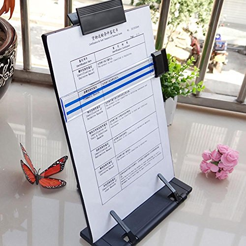 Kangkang@ Adjustable Desktop Document Book Reading Stand Holder Copyholder with Line Guide Ruler and Clip Black ()