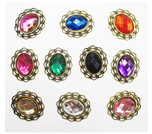 ALL in ONE 10pcs Mixed Color Oval Shape Vintage Rhinestone Button Embellishments (28x24mm)
