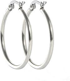 HooAMI Women's Stunning Stainless Steel Large Hoop Earrings with CZ zX6BEfy4Pz