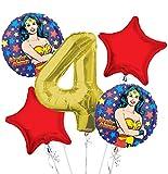 : Wonder Women Balloon Bouquet 4th Birthday 5 pcs - Party Supplies