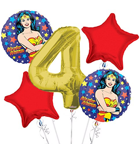 Wonder Women Balloon Bouquet 4th Birthday 5 pcs - Party Supplies]()