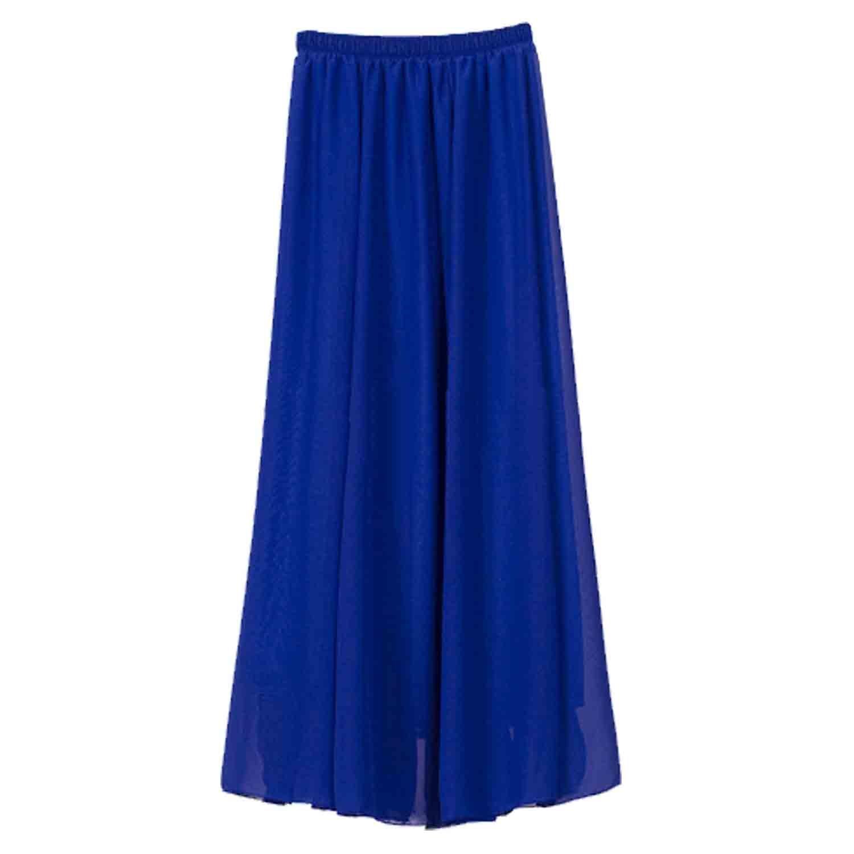 SUNNOW® 20 Farben Röcke Damen Korean Stil Boho Plissee Retro Maxi Rock Elastisch Bund Tanz-Kleid Party Frauen Chiffon Rock Lang