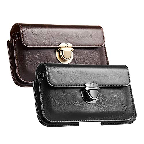 2 Pack Horizontal 2 in 1 Leather Phone Holster, LUXMO Retro Leather Belt Pouch Case Men Business Messenger Bag Waist Wallet Pocket for iPhone 7 plus/8 plus/Galaxy Note 9/S9 Plus/S8 Plus- Black + Brown (Galaxy Note 2 Holster Case)