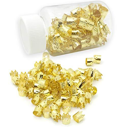 JIALEEY 80 Pieces Dreadlocks Beads Aluminum Dread Locks Crown Metal Cuffs Hair Decoration Braiding Hair Jewelry, 10mm (Golden)