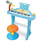 DUWEN Keyboard Children's Multi-function Electronic Keyboard With Microphone 37-key Musical-electronic Piano Early Childhood Educational Toy With Stool (Color : Blue)