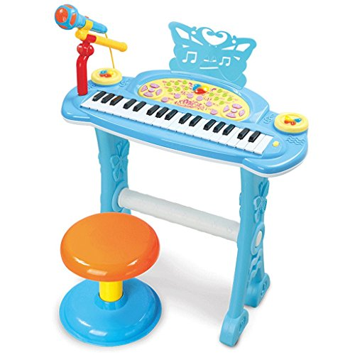 DUWEN Keyboard Children's Multi-function Electronic Keyboard With Microphone 37-key Musical-electronic Piano Early Childhood Educational Toy With Stool (Color : Blue) by DUWEN