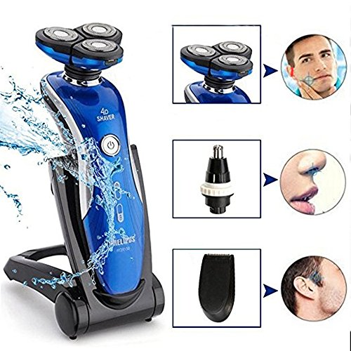 Electric Shaver , Aooher 4D 3 in1 IPX7 Washable Floating Head Electric Razor Nose Trimmer Hair Temple Cutter for Men