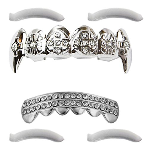 Ice Grillz - Top Class Jewels 24K White Gold Plated Iced Out Grillz with Fangs CZ Diamonds + 2 Extra Molding Bars, Storage Case + Microfiber Cloth