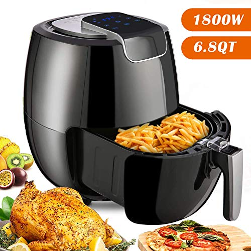 yesparn Air Fryer XL 6.8QT, 1800W Fast Cook Electric Hot Air Fryers Oven Oilless Cooker with LCD Digital Touchscreen, 8 Cooking Presets, Preheat & Nonstick Basket for Fast Healthier Fried Food, 2-Year Warranty, Black