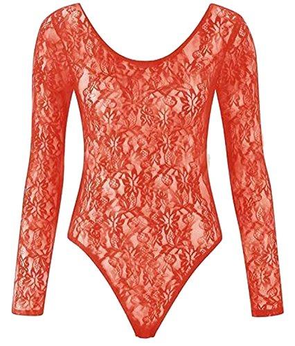Nuevos Para Mujer Floral Lace BODY para gimnasia de manga larga cuerpo encaje Top 8–�?6 Coral