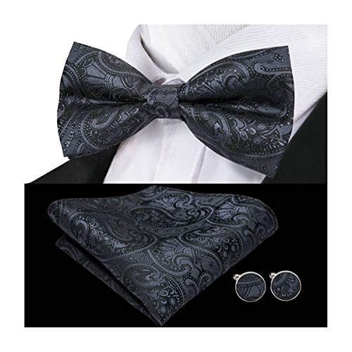 Barry.Wang Mens Black Bow Tie and Pocket Square Set Silk Pretied Bow Tie Hankerchief Cufflinks