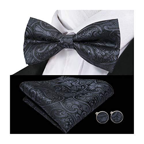 Barry.Wang Mens Designer Solid Black Bow Tie Set Silk Bowtie Pocket Square Cufflinks ()