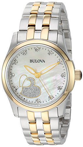 Bulova Women's Quartz Stainless Steel Casual Watch, Color Two Tone (Model: 98P152)
