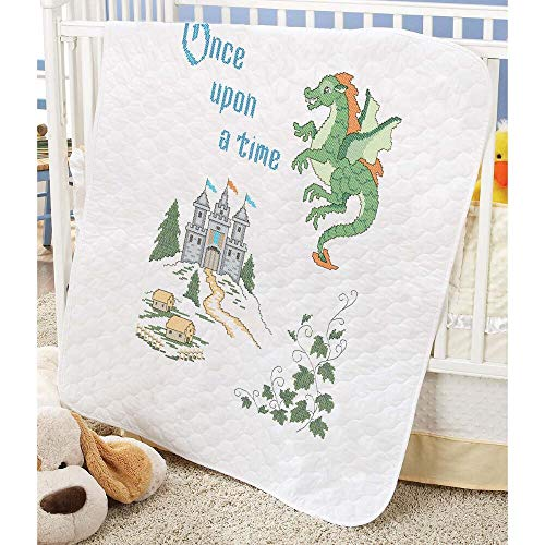 Herrschners Pre-Quilted Storytime Dragon Baby Quilt Stamped Cross-Stitch - Pre Quilted Baby Quilt