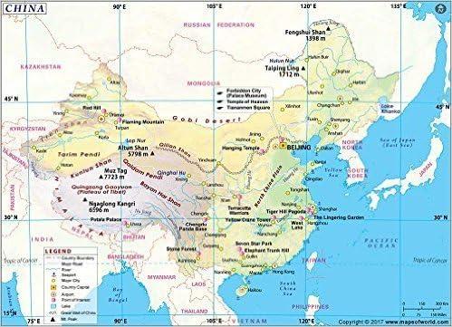 China mapa (91 cm W x 66 cm H): Amazon.es: Oficina y papelería