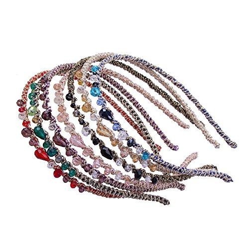 Cfrmall Girls / Women Ribbon or Jewelry Crystal Pearl Headbands (7Pcs Set Girls / Women Lrregular Crystal Headbands)