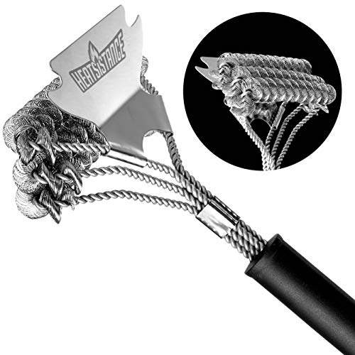 "Heatsistance Grill Brush Bristle-Free Cleaner for BBQ Grill - Long Lasting 18"" Stainless Steel Barbecue Scraper Accessory with Extra Wide Scraper Head - Non-Slip Easy Grip Handle"