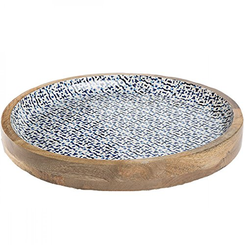 Enamel Mango (Jesse's Indigo Enamel Coated Mango Wood Serving Tray - 16 diameter)