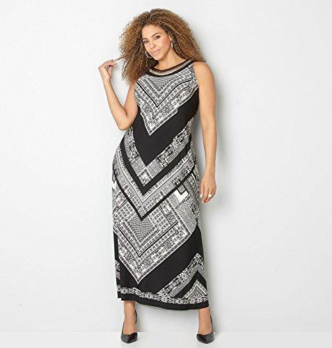 AVENUE-Womens-Chain-Mesh-Geo-Chevron-Maxi-Dress