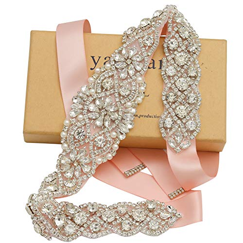 - Yanstar Handmade Silver Rhinestone Crystal Wedding Bridal Belt With Blush Ribbon For Wedding Dress