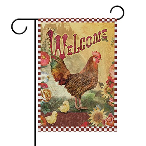 Nature Farm Life Rooster Hen Chickens Double Sided Garden Yard Flag, Sunflower Bird Country Rooster Summer Spring Decorative Garden Flag Banner for Outdoor Home Decor Party 28x40 Inches ()