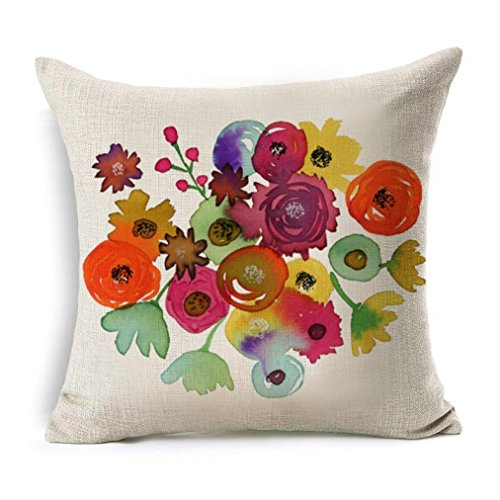 YANG-YI 2017 Flowers Linen Square Throw Flax Pillow Case Decorative Cushion Pillow Cover (18X18