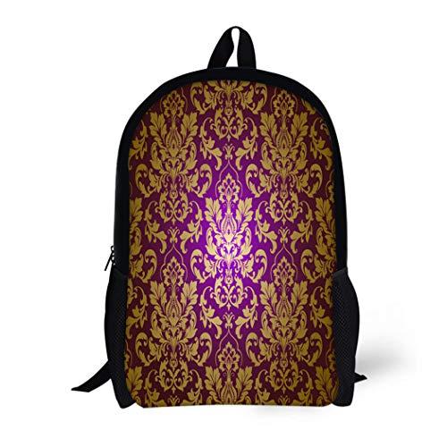 Pinbeam Backpack Travel Daypack Gray Brocade Damask Pattern Pink Antique Classy Ornate Waterproof School Bag